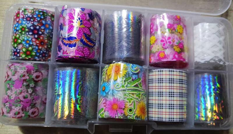 花ネイルアートホロ箔装飾ラップ転写 10 個 (10 デザイン) ネイルアート箔転写箔ステッカー