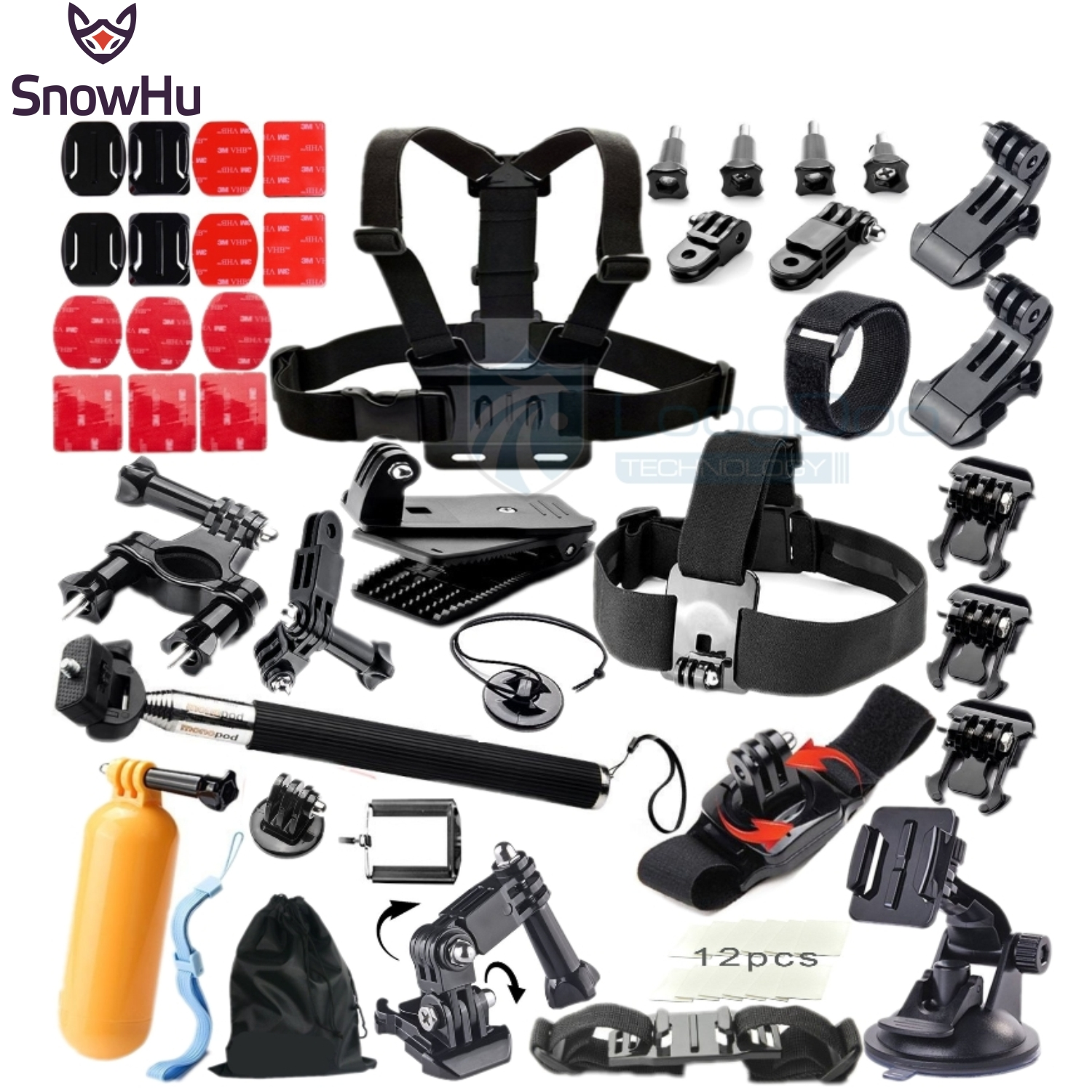 SnowHu for Gopro Accessories Floating Tripod stick Monopod Chest Strap Adapter Set For Go pro Hero