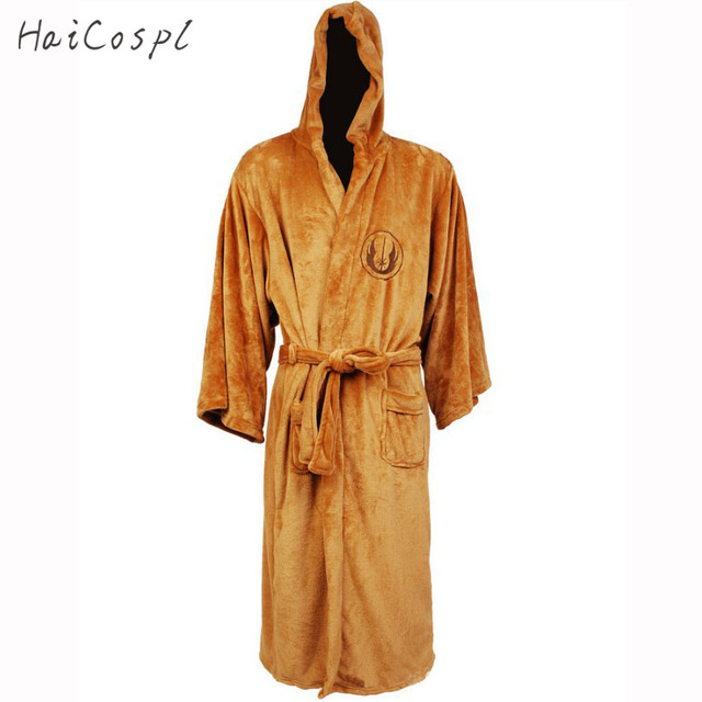 Star Wars Bathrobe Robes Cosplay Costumes Men Adult Galactic Empire Jedi  hoodies Black Brown Warm Soft Coral Velvet Pajama Party b7fea6bb3