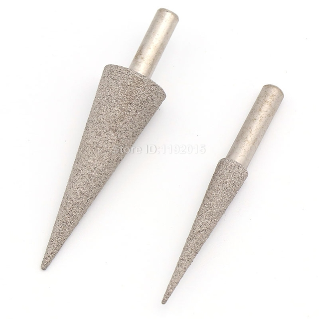 1PCS 100 6MM Shank Grit Diamond Brazed Grinding Head Needle Bits Burrs Metal Stone Jade Engraving Carving Tools Tip Coarse