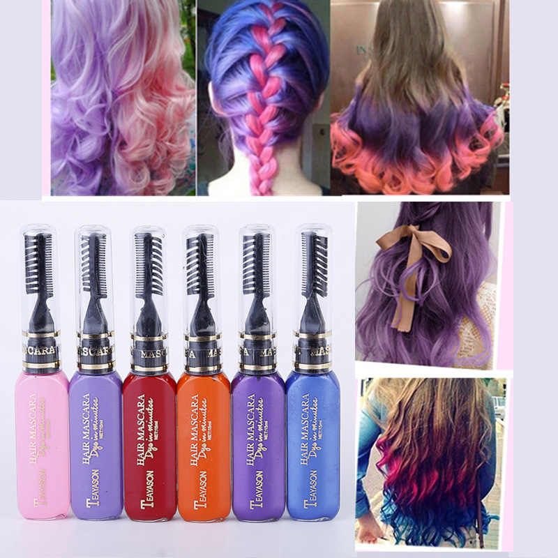13 Colors One Time Hair Color Hair Dye Temporary Non Toxic Diy Hair Color Mascara Dye Cream Blue Grey Purple
