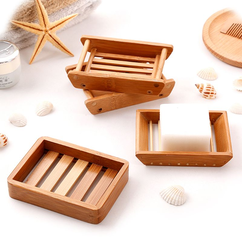 Portable Soap Dishes Creative Simple Bamboo Manual Drain Soap Box Bathroom Bathroom Japanese Style Soap Soap Box