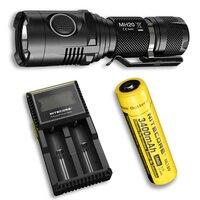 NITECORE MH20 фонарик + 18650 Батарея + D2 Зарядное устройство 1000 люменов CREE XM L2 U2 светодиодный USB Перезаряжаемые мини факел Бесплатная доставка