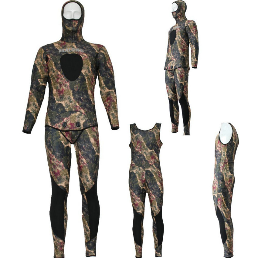 цены REALON Surfing Wetsuit 5mm Spearfishing Suit Neoprene Scuba Diving for Men and Women Camo Surf Top Swimsuit Swimwear traje de bu
