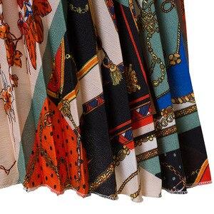 Image 5 - 2021 nowych moda wysokiej talii plisowana spódnica kobiety wiosna lato spódnice Midi kobiet w pasie linii długie spódnice dla kobiet Rok