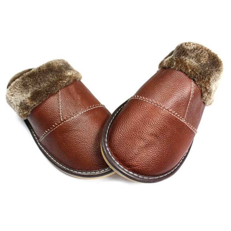 Mens Leather Bedroom Slippers