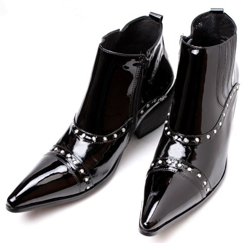Italian Luxury Pluse Size High Heels Patent Genuine Leather Western Cowboy Boots Studded Black Military Boots Dress Shoes MensItalian Luxury Pluse Size High Heels Patent Genuine Leather Western Cowboy Boots Studded Black Military Boots Dress Shoes Mens