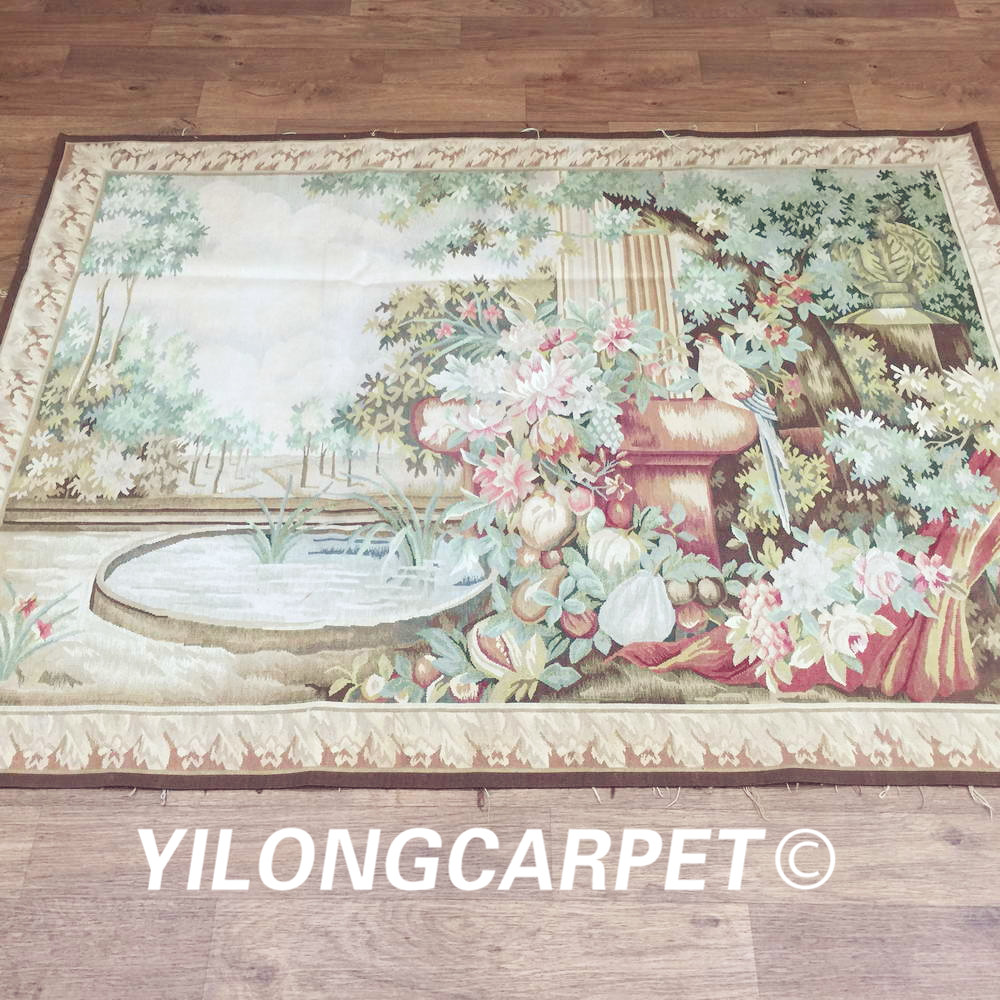 Yilong 4.2'x5.6' Wall hanging tapestry pure 100% wool french hand woven aubusson tapestry (Au32 4.2x5.6) - 5