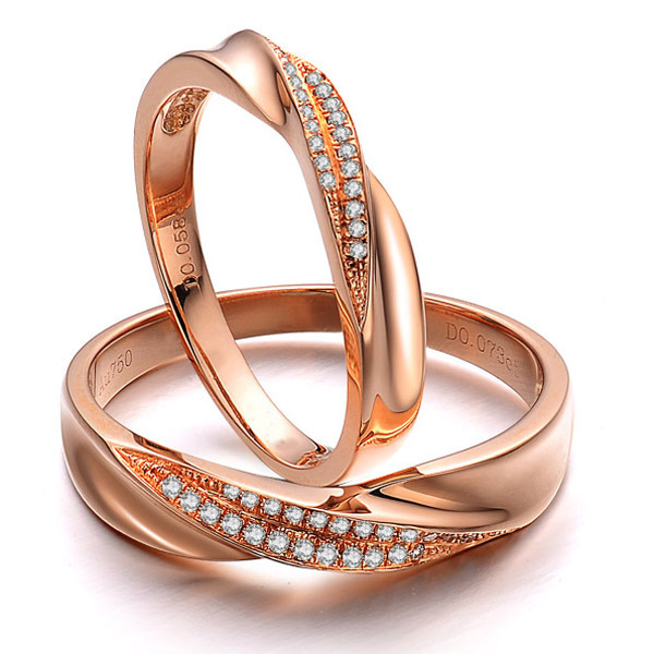 Solid 18K Rose Gold Natural Diamond Couple Ring Set Wedding Bands