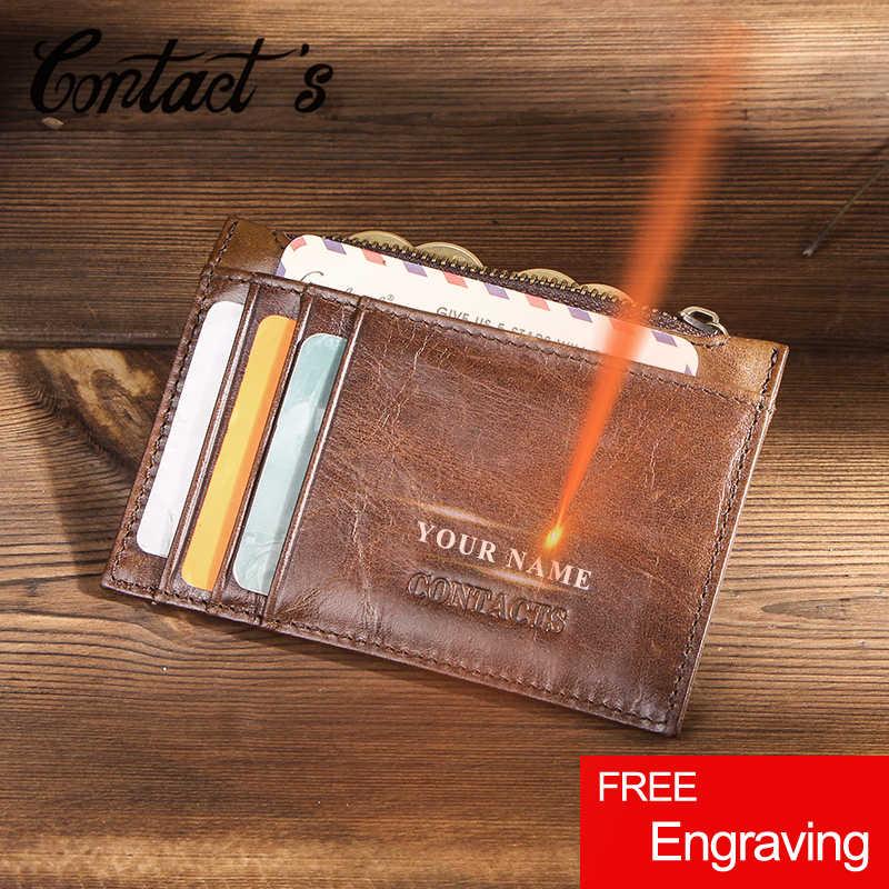 Держатель для карт из 100% натуральной кожи, кошелек, мини-бумажник для мужчин, на молнии, карман для монет, держатель для кредитных карт, двойные