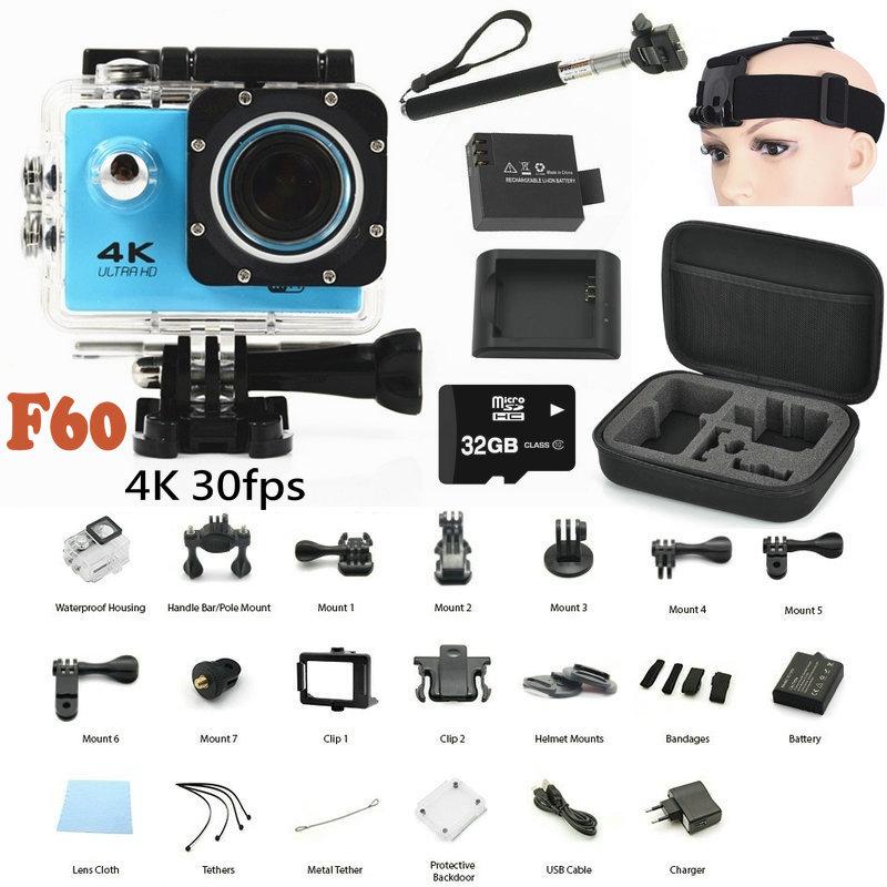 Hot 4K Sports DV Action camera F60 Allwinner V3 4K 30fps 1080P WiFi 2 0 170D