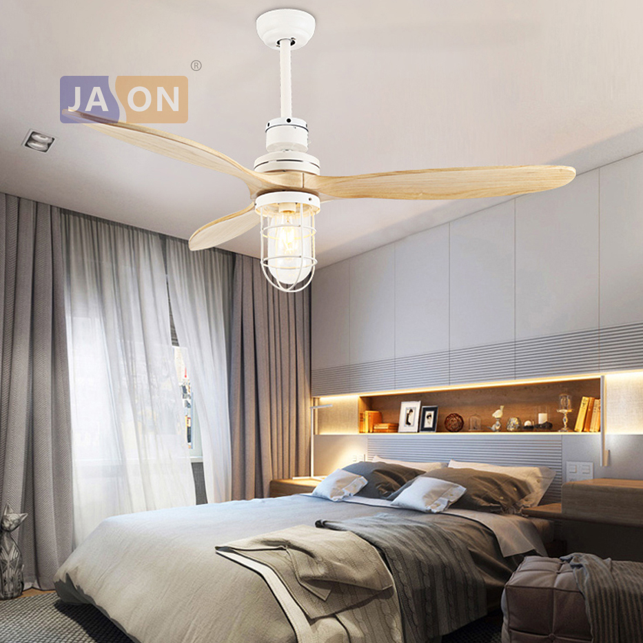 E27 Edison Loft Industrial Iron Glass Wood Ceiling Fan Led