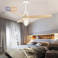 E27 Edison Loft Industrial Iron Glass Wood Ceiling Fan.LED Lamp.LED Light.Ceiling Lights.LED Ceiling Light.For Foyer Bedroom