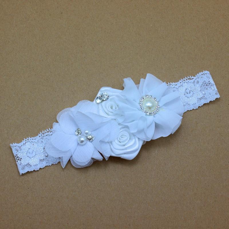 Diadema para bebé de encaje Flores con perlas y pedrería Niñas - Accesorios para la ropa - foto 6