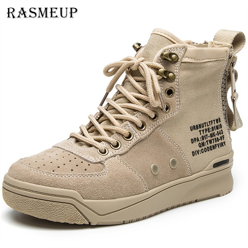 RASMEUP Genuine Leather + Canvas Women Military Boots Special Force Desert Combat Women's Ankle Boots Flat Army Woman Work Shoes
