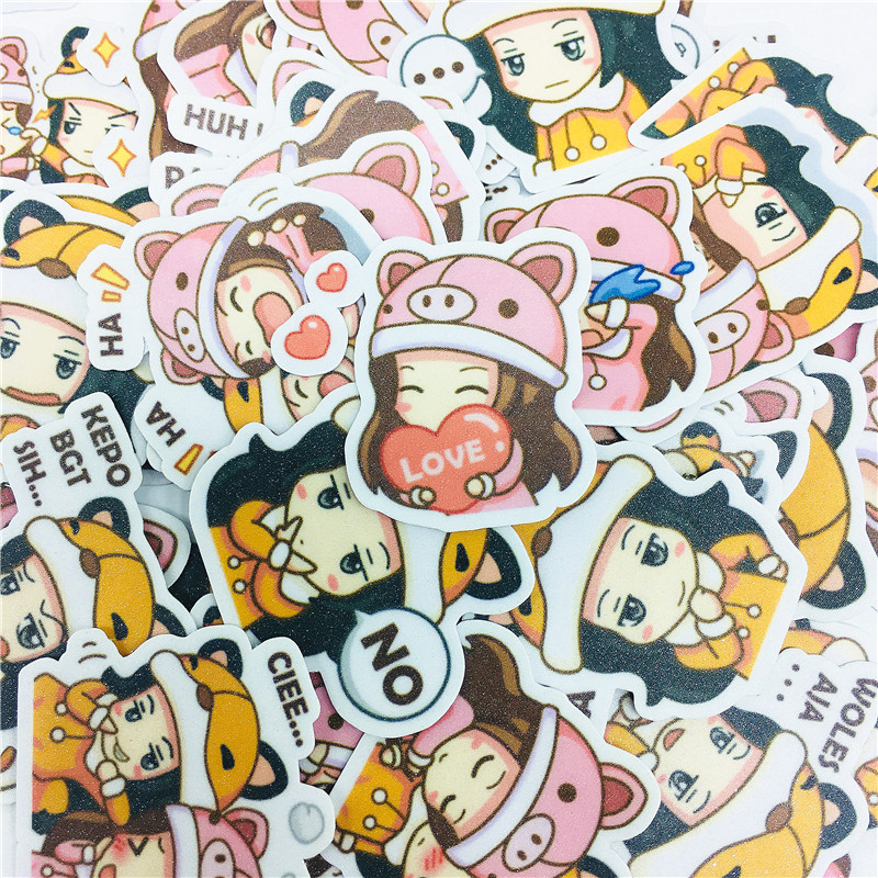 38 PCS Anime Cute Hat Girl Loli Stickers  And Scrapbooking Stickers Book Student Label Paper Sticker DIY Stationery