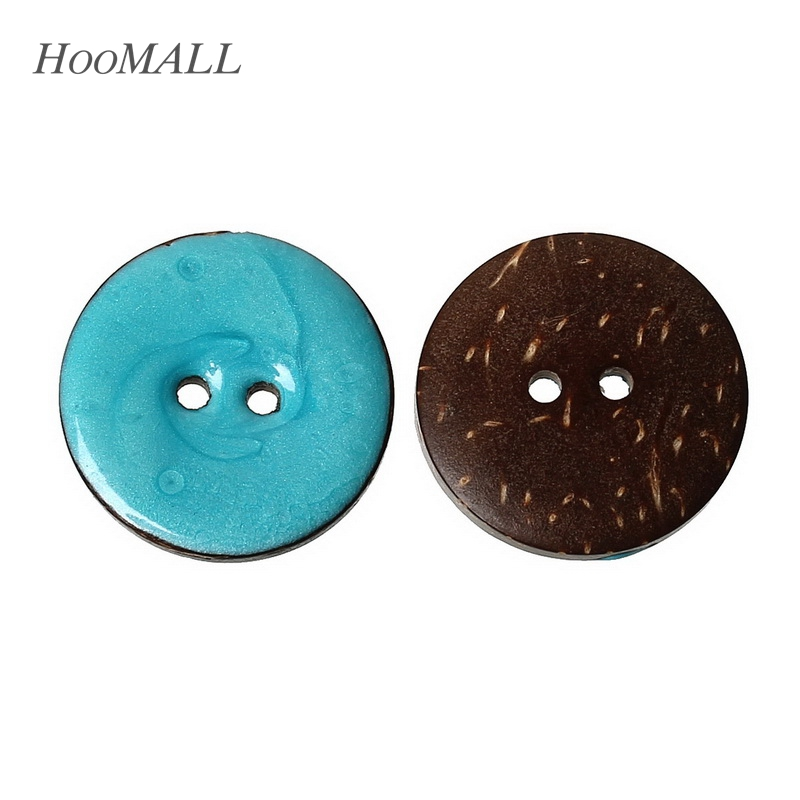 Hoomall New 10PCs Enamel Lightblue Coconut Shell Buttons Fit Sewing and Scrapbooking 25mm