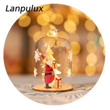 Lanpulux Holiday Decor Night Light Star Triangle Santa Christmas Tree Wooden Craft Festival Party Home Decoration Light Fixtures(China)