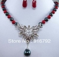 Free Shipping BEAUTIFUL Black Pearl Red Coral Jade Flower Necklace Earrings Set
