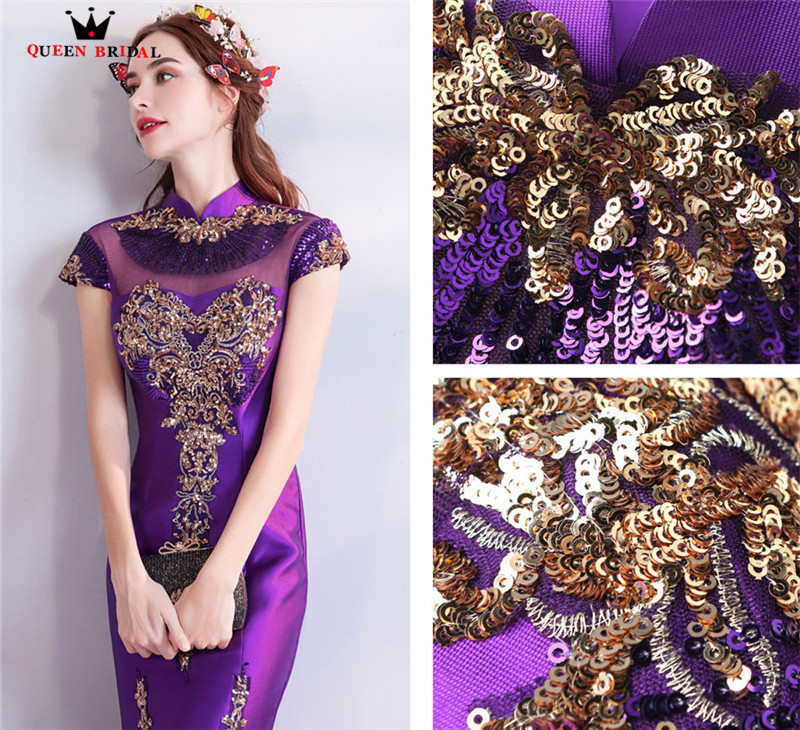 Mermaid High Neck Satin Embroidery Beading Sexy Purple Evening Dresses Prom Dresses Gowns Vestido De Festa QUEEN BRIDAL NT04 - 6