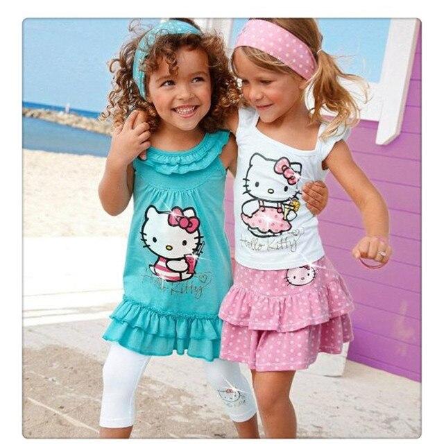 Baby Girls Summer Hello Kitty Suits Children 3Pcs Sets Headband+Dress+Pants Cute Kt Cat Kids Clothing Set  Retail 2017 New C12
