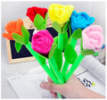 Free shipping Plush Roses Toys 6pcs/lot office school kid girl stationery creative gadget can also write surprise valentine gift