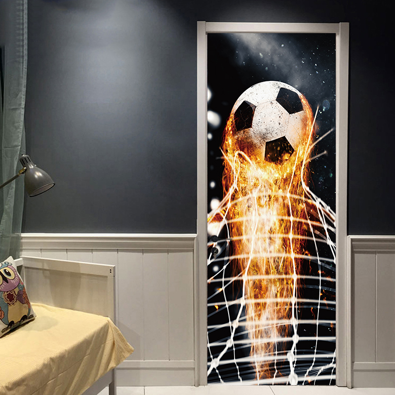 Firing Football Through Wall Stickers For Kids Room Decoration Home Decals Soccer Funs 3d Mural Art Sport Game Pvc Poster