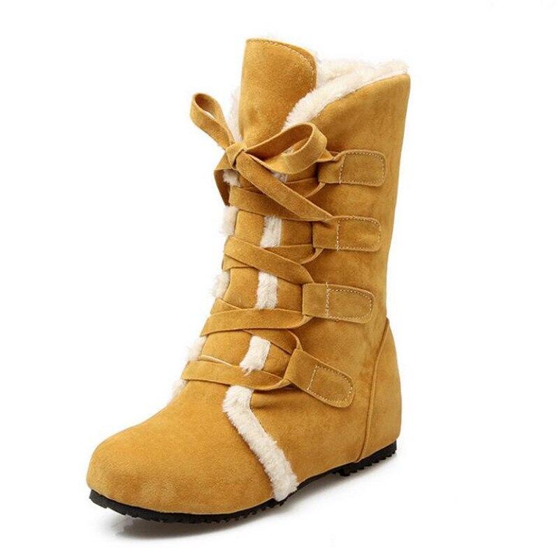 Women's Casual Round Toe Mid Calf Platform Wedges Tassels Warm Snow Boots