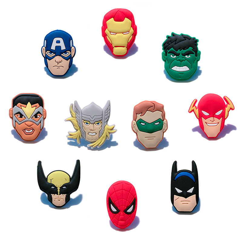 100PCS Avengeres Batman Super Mario Sesame Street Octonauts PVC Shoe Charms Accessories Fit Bands Bracelets Croc JIBZ Kids Gift in Shoe Decorations from Shoes