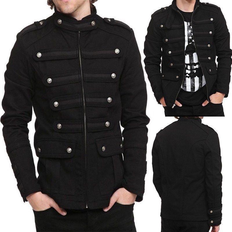 Men's Punk Gothic Rock Metal Military Short Coat Jacket Outwear Stylish A10
