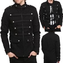Mens Punk Gothic Rock Metal Military Short Coat Jacket Outwear  Stylish A10