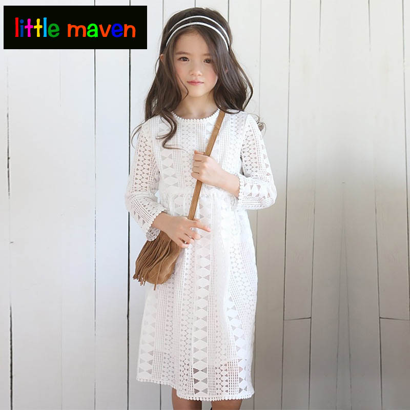 2017 Big Girl Autumn Dress New Style for 5-6-7-8-9-12-14-16 Yr Full Sleeve Princess Lace Hollow Out Dresses Daughter Mom Clothes girl dress autumn white long sleeved clothes korean cotton size 4 5 6 7 8 9 10 11 12 13 14 years kids blue lace princess dress