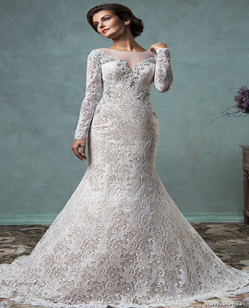 Online Get Cheap Cream Mermaid Wedding Dress Aliexpress Com