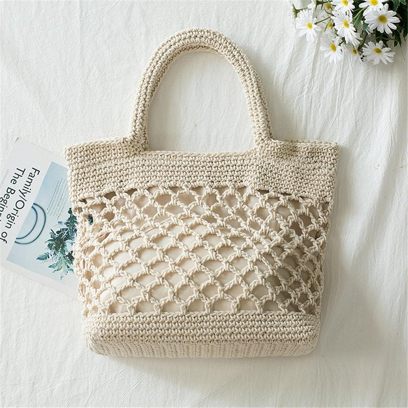 Cotton Handmade Straw Woven Bag Fashion Leisure Beach Hollow Out Shoulder Storage Totes Braided Hand Bag Handbag For Women BagsCotton Handmade Straw Woven Bag Fashion Leisure Beach Hollow Out Shoulder Storage Totes Braided Hand Bag Handbag For Women Bags