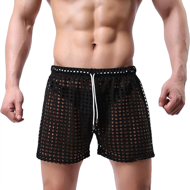 Pijama Hombre Sexy Sleepwear Big Mesh See Through Home Lounge Sleep Shorts Bottom