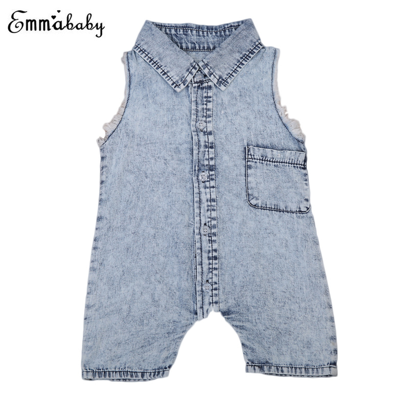 2019 Boys Denim   Rompers   Toddler Kids Baby Girl Clothes Sleeveless Pocket   Romper   Jeans Infant Boys Jumpsuit Clothes Outfit