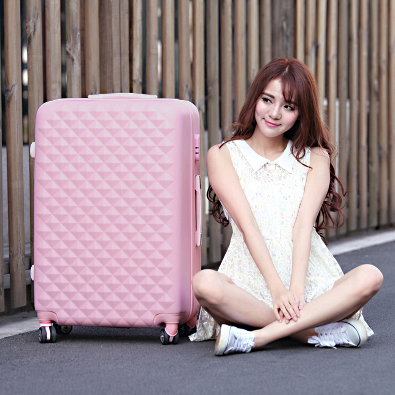 28 High quality Diamond lines Trolley suitcase /travell case luggage/Pull Rod trunk rolling spinner wheels/ ABS+PC boarding bag