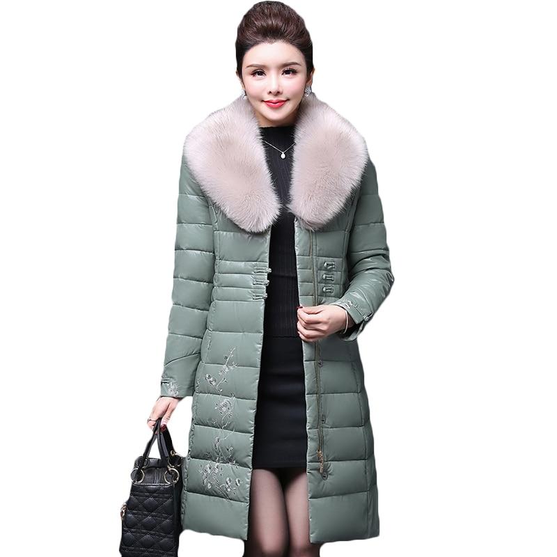 Plus 2019 Cuir Coton Black green purple Chaud Vers Broderie Épaissir D'hiver Le Colour Vestes La Manteau Femelle Femmes Down Nouveau Bas Veste caramel Long Taille Pu rYwrAqz
