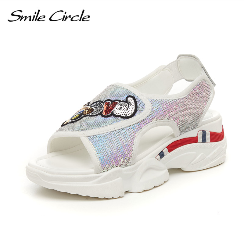 Smile Circle Summer sandals Women Fashion sequins Flat platform Shoes For Women Outdoor casual sandals chaussures femme ete 2018