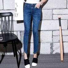 Осенняя Мода S-5XL Средний Талия джинсы Высокой Упругой плюс размер Женские Джинсы женщина femme промывают повседневная тощий карандаш Джинсовый брюки