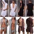 Roupa Interior dos homens Lazer Lounge Robe Com Capuz Sexy Meryl Seda Macia Vestido De Pijamas