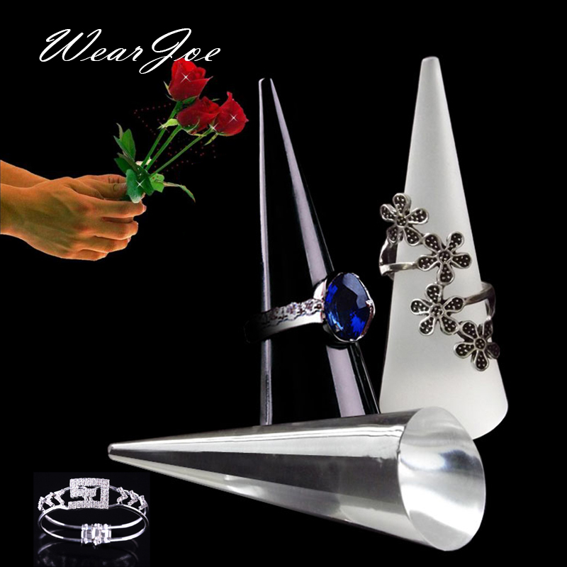 Portable Acrylic Finger Cone Model Ring Storage And Carrying Stand Rack Holder Counter Top Mini Jewelry Display Show Case Shelf