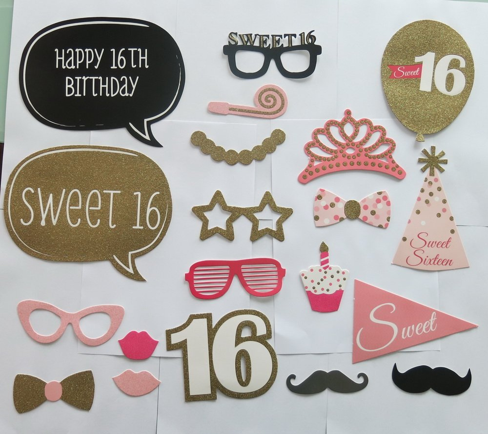 Rainlemontm Sweet 16th Birthday Photo Booth Props Girl Party Pink