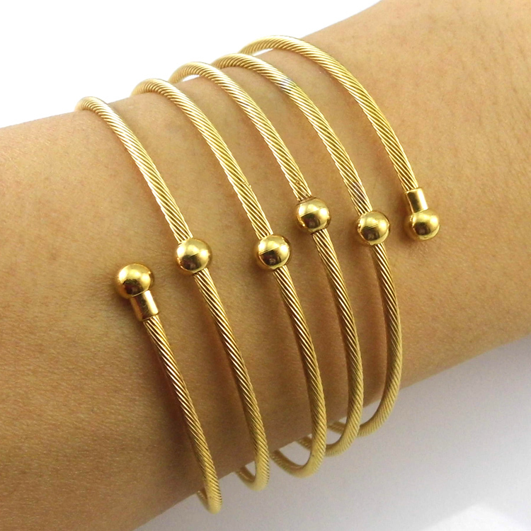 New 2016 Yellow Gold Color Twist Wire Mesh Hand Bangle Charm ...