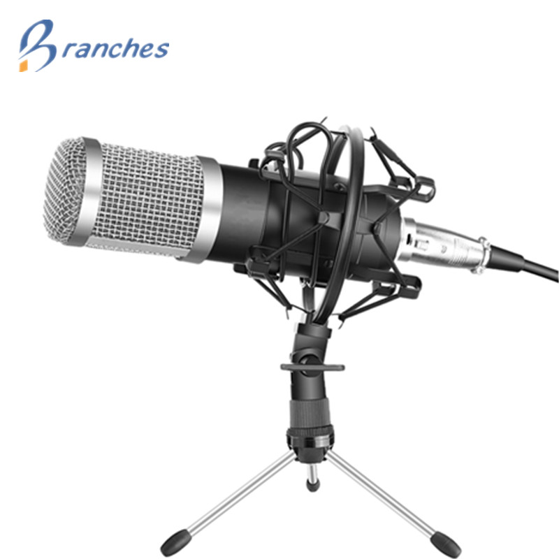 BM800 Microphone Condenser Sound Recording With Shock Mount For Radio Braodcasting Singing Recording Kit KTV Karaoke BM 800 100% new professional bm 800 bm800 condenser sound recording microphone with shock mount for radio braodcasting singing black
