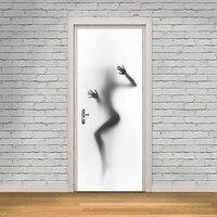 3D Abstract Women Poster PVC Waterproof Entire Door Sticker Creative Stickers Door Wall Sticker DIY Mural Bedroom Home Decor