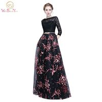 Walk Beside You Black With White Red Floral Evening Dresses Vestido De Festa Longo De Luxo