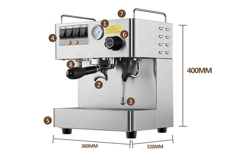 Commercial professional stainless steel body high quality Espresso coffee maker boiler cappuccino coffee machine