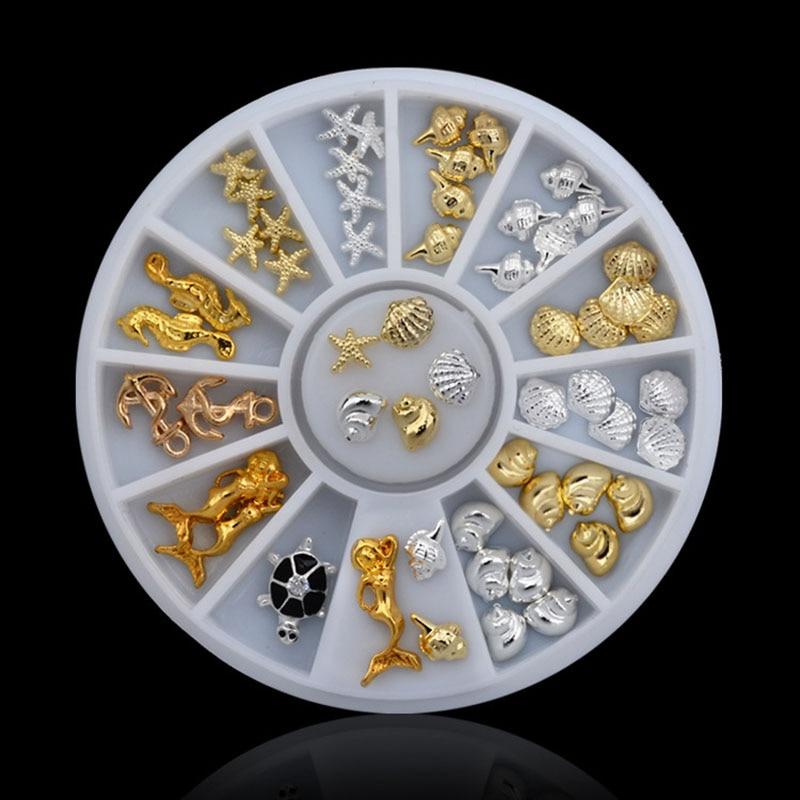 New Style Sea Style 3d Nail Art Sticker Decoration Studs Gold Silver Metal Alloy Glitter Charm DIY Beauty Salon Nail Tools