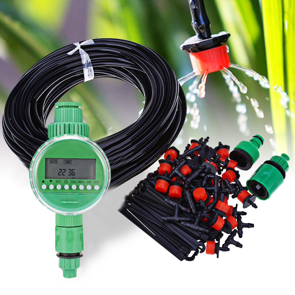 25M DIY Micro Drip Irrigation Controller System LCD Plant Self Automatic Watering Timer Garden Hose Kits With Adjustable Dripper 流水 盆 養魚